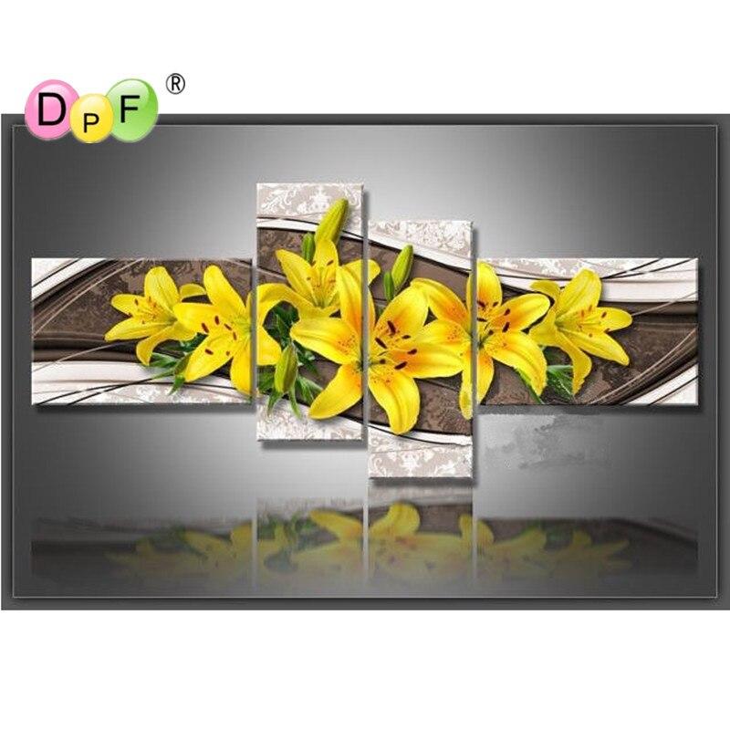 Nouveauté 5D broderie complète diamant strass bricolage point de croix diamant peinture décoration murale jaune lys artisanat photo