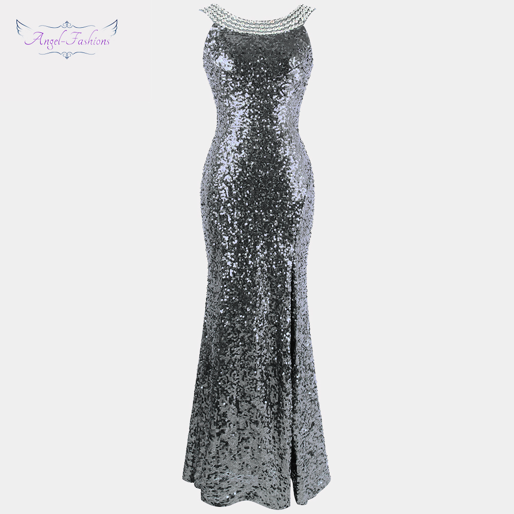 Angel fashions Twinkling Women s Backless Prom Dresses Beading Slit Sequin 1920s Party Dresses 090
