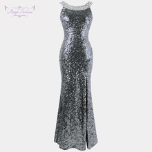Angel fashions Twinkling Womens Backless Prom Dresses Beading Slit Sequin 1920s Party Dresses 090