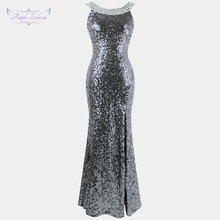 Angel-fashions Twinkling Women s Backless Prom Dresses Beading Slit Sequin  1920s Party Dresses 090( b802473354a9