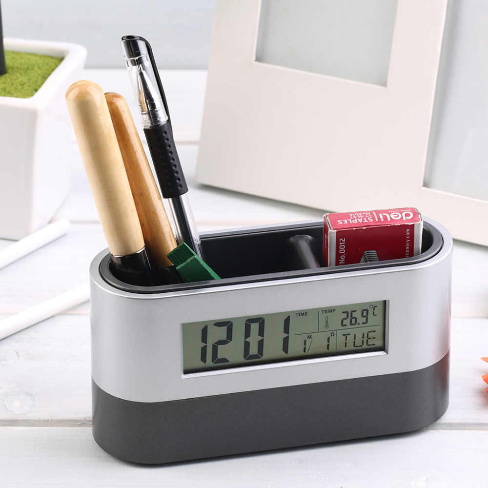 Multifunctional Home Office Digital Snooze Alarm Clock Pen Holder Calendar temperature Display Black Blue Good Quality Free Ship