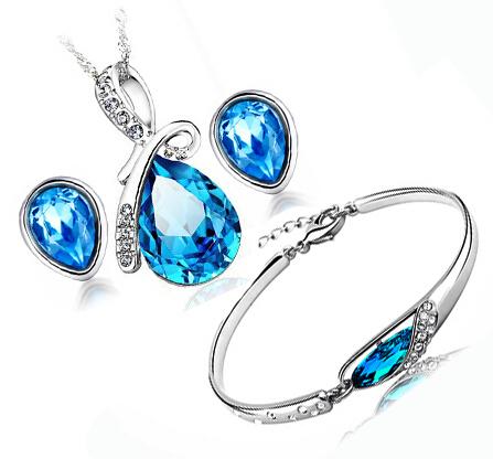100% Prata Conjuntos de Jóias 925 AAA para Mulheres Azul Marinho Água Conjunto de Jóias gota de Cristal Colar + Brinco + Pulseira de Prata Maciça