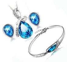 100% Sistemas de la Joyería de Plata 925 AAA para Las Mujeres Azul Marino de Agua Sistema de La Joyería de Cristal gota de Plata Maciza Collar + Earring + Pulsera