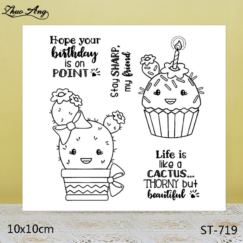 ZhuoAng Cactus/Delicious cake Clear Stamps/Seals For DIY Scrapbooking/Card Making/Album Decorative Silicon Stamp Crafts