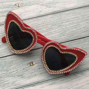 ZAOLIHU Lovly Red Heat Sunglass Women 2019 Designer Golden Diamond Chain Handmade Cheap Ladies Sun Glasses UV400 oculos de sol