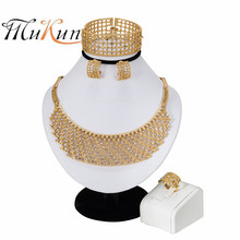 MUKUN 2019 Wedding Women Jewelry Set Nigerian Beads Necklace Earrings Set Party Fashion Accessories Gold Color Crystal Jewellery charming peach crystal beads handmade african jewelry set wedding party beads necklace women fashion set free shipping aby337