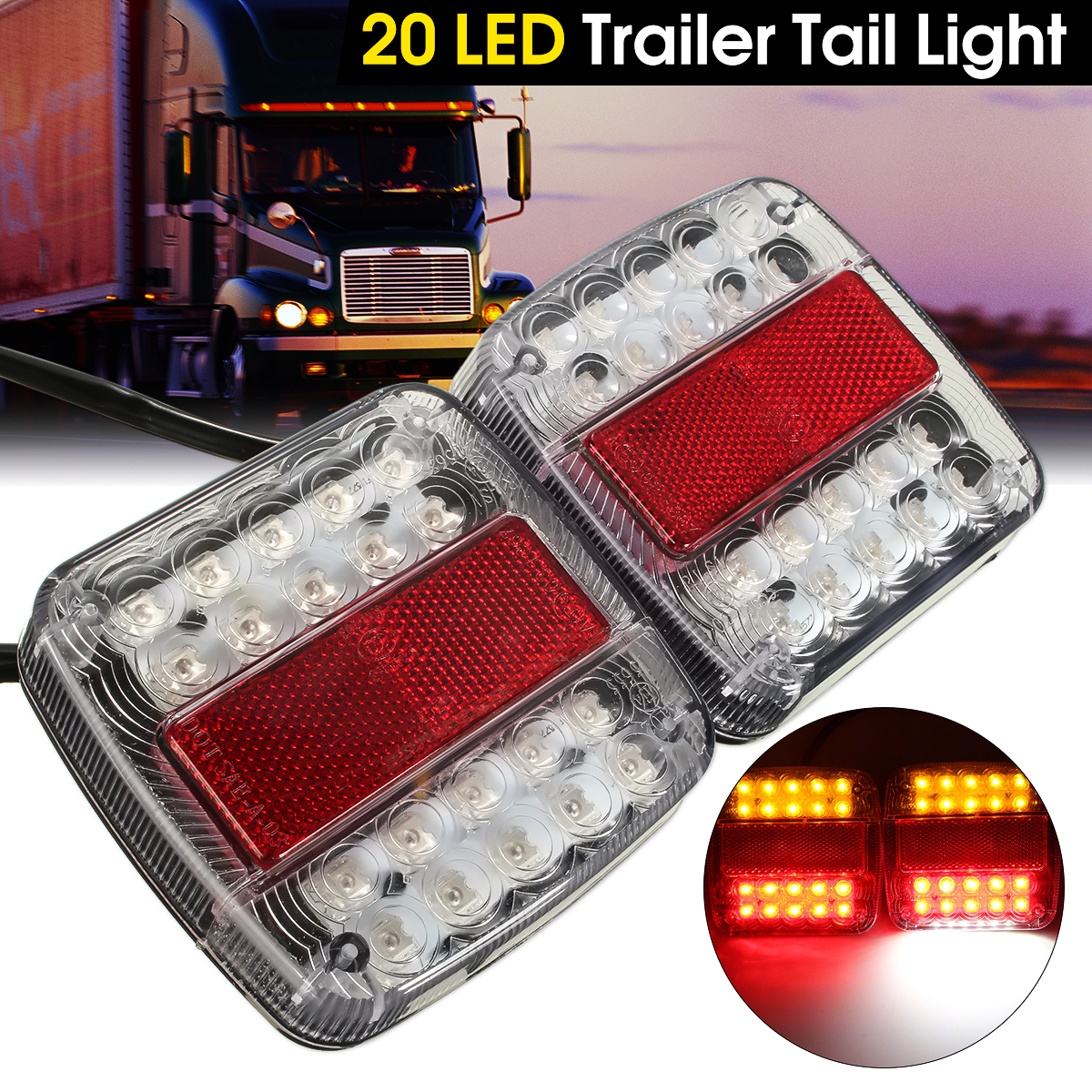 2x 12V 26 LED Taillight Turn Signal Light Rear Brake Stop Light Number License Plate Lamp For Car Truck Trailer E-Marked vehemo 12v 40 led truck car trailer rear tail light stop indicator turn signal lamp