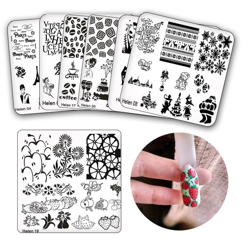6*6 см квадратные пластины для стемпинга ногтей DIY кружевной Цветочный узор штамп для дизайна ногтей шаблон для стемпинга трафареты для изоб...