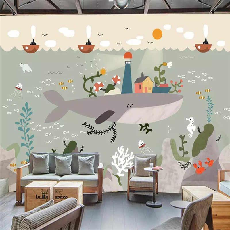 Ręcznie malowane pod wodą świat whale mate sztuki ściana tła profesjonalnej produkcji mural hurtownia tapety niestandardowe fototapeta