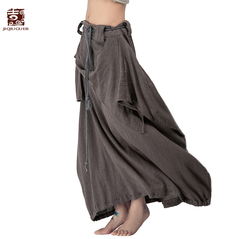 Jiqiuguer Для женщин из хлопка и льна шаровары Винтаж плюс Размеры Твердые шнурок на молнии свободные длинные осенние штаны юбки L142K008