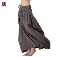 Art To Wear National Trend Plus Size Medium Waist Long Linen And Cotton Vintage Pleated Harem