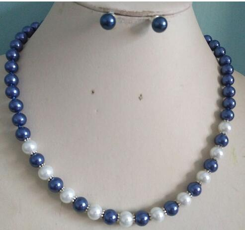 Women Gift Freshwater 8MM White/dark blue South Sea Shell Pearl necklace earrings set