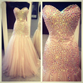 Mermaid Evening Dress 2016 Vestidos de Gala Largos Rhinestone Evening Gown Floor Length Prom Dresses
