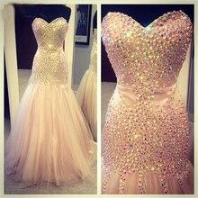 Meerjungfrau Abendkleid 2016 Vestidos de Gala Largos Strass Abendkleid Bodenlangen Abendkleider