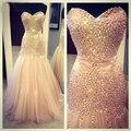 Vestido de Noche de la sirena 2016 Vestidos de Gala Largos Rhinestone Longitud Del Piso Del Vestido de Noche Vestidos de Baile