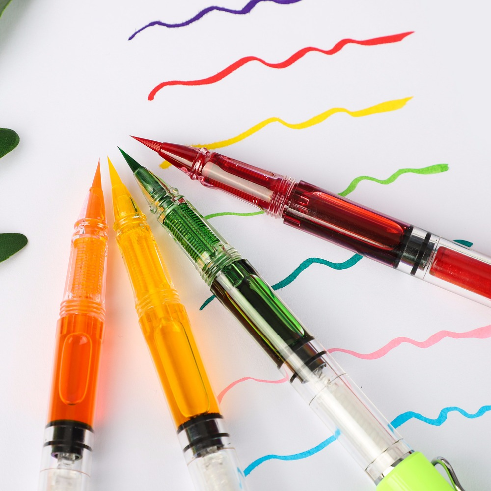 8Colors Refill Fountains Brush Pen Chinaese Calligraphy Pen For Writing Painting School Office Stationery Supplies