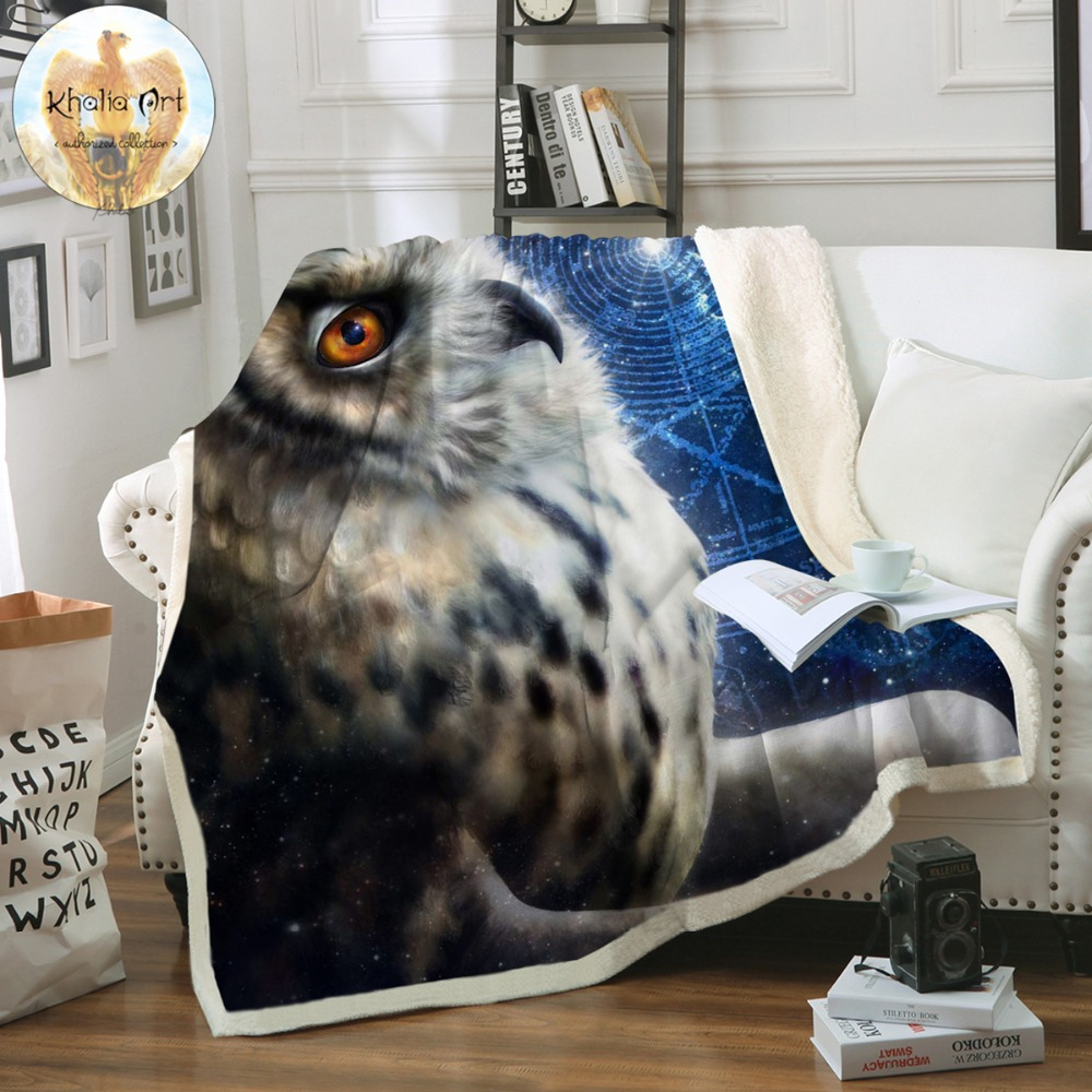 Time Traveler Owl by Khalia Art Bed Blanket 3D Printed Sherpa Fleece Plush Bedclothes Animal Look Up Galaxy Throw BlanketTime Traveler Owl by Khalia Art Bed Blanket 3D Printed Sherpa Fleece Plush Bedclothes Animal Look Up Galaxy Throw Blanket
