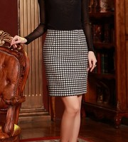 Houndstooth Skirt For Women High Waist Work OL Skirts Autumn Winter Casual Pencil Skirt Black&White Color Plus Size Skirt S 4XL