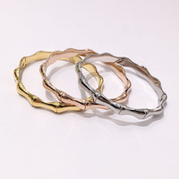 Brand Bamboo Joint Design Simple Women Cuff Bangle Bracelet Jewelry Drop Shipping