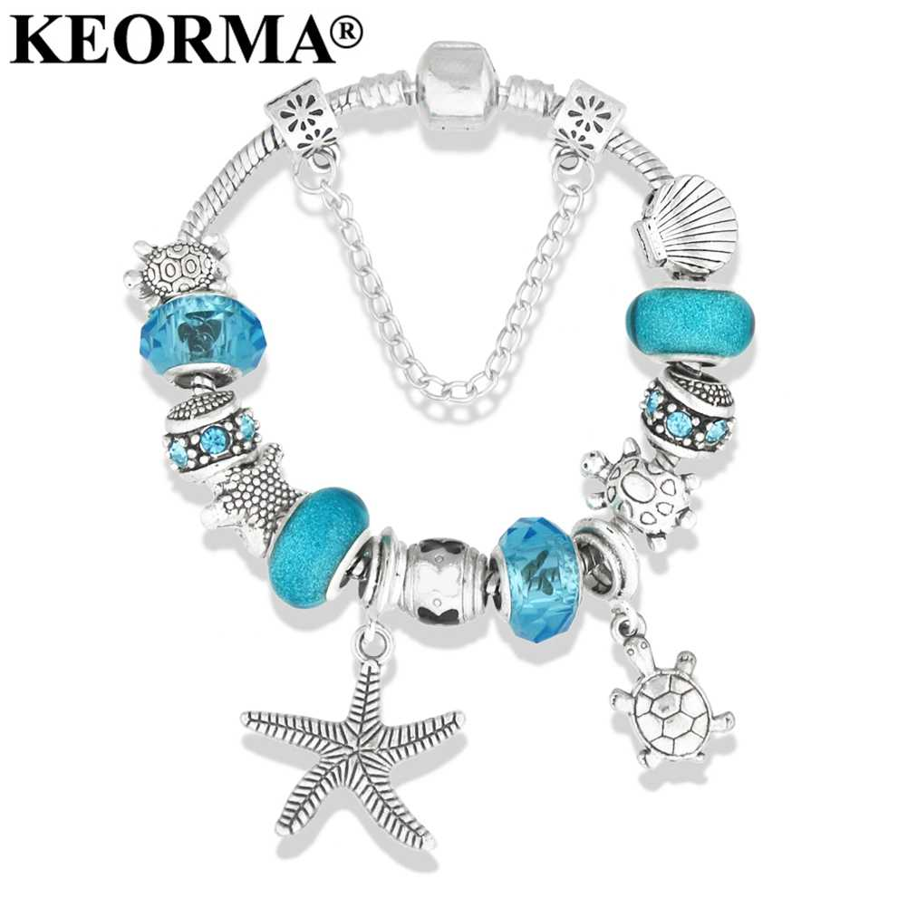 KEORMA Summer Style Sea Turtles/Starfish Charm Bracelets & Bangles Silver Plated DIY Blue Crystal Beads Bracelet For Women Gift