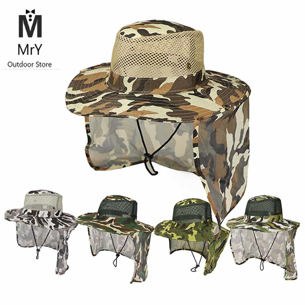 MrY Fishing Hat Wide Brim Breathable Mesh Unisex Outdoor Sport Fishing Hiking Hat UV Protection Face Neck Flap Man Sun Cap
