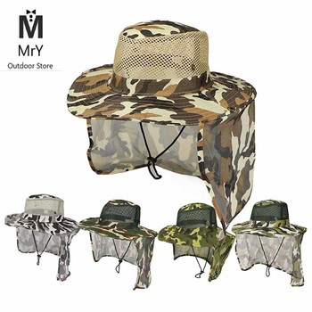 MrY Fishing Hat Wide Brim Breathable Mesh Unisex Outdoor Sport Fishing Hiking Hat UV Protection Face Neck Flap Man Sun Cap new outdoor sports hat men camping hiking fishing hat man sun cap camouflage breathable