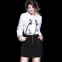 2017 Autumn New Women White Embroidery Chiffon Shirt Black Skirt Suit Two Piece Clothing Set Lady