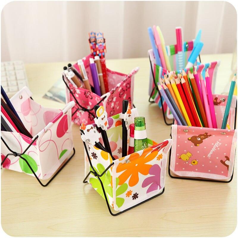 Mini thick oxford folding desktop stationery storage box pen holder makeup organizer storage rack home decor