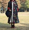 Mulheres parkas casaco de Inverno do outono do algodão de linho Nacional botões gola de algodão fino longo casaco 2016 nova