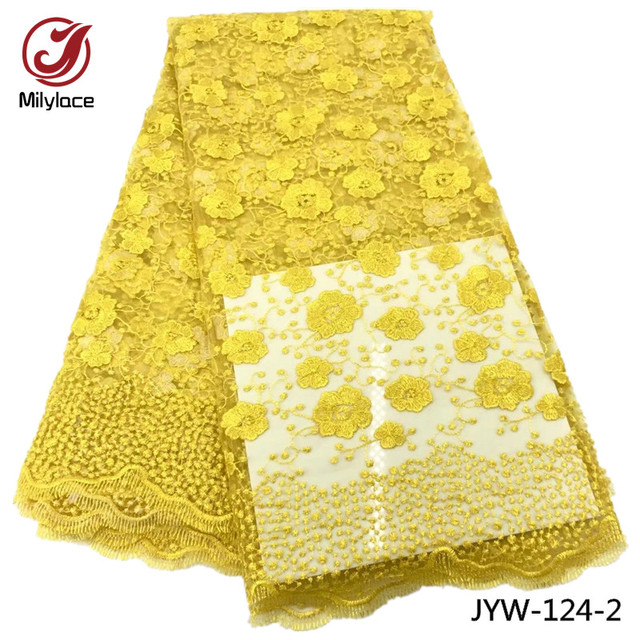 US $45 53 31% OFF|Yellow lace fabric 5 yards per lot nigerian french lace  fabric green lace fabric for dress JYW 124-in Lace from Home & Garden on