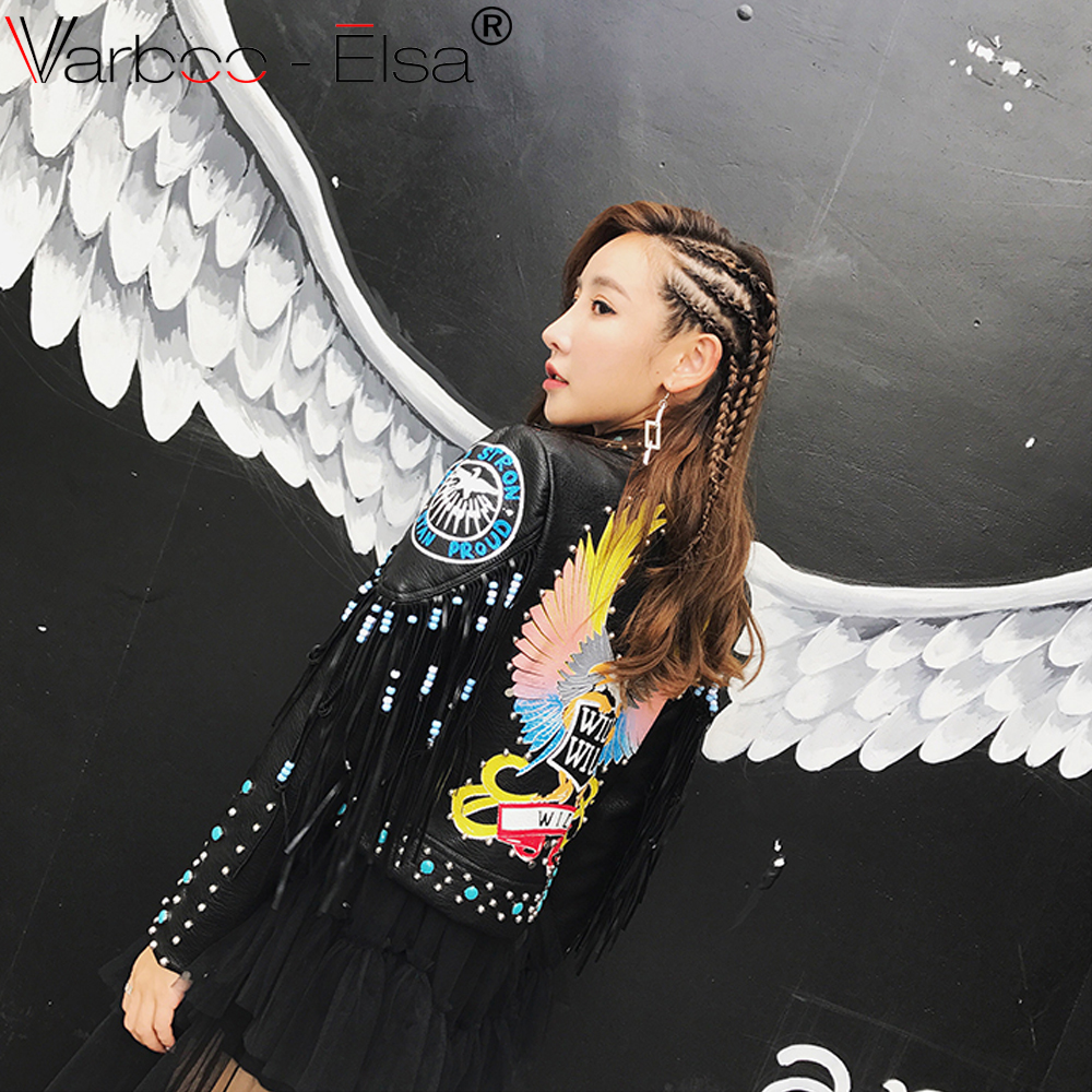 06e5f1786 VARBOO ELSA Graffiti Punk Style Leather Jacket 2017 Autumn winter ...