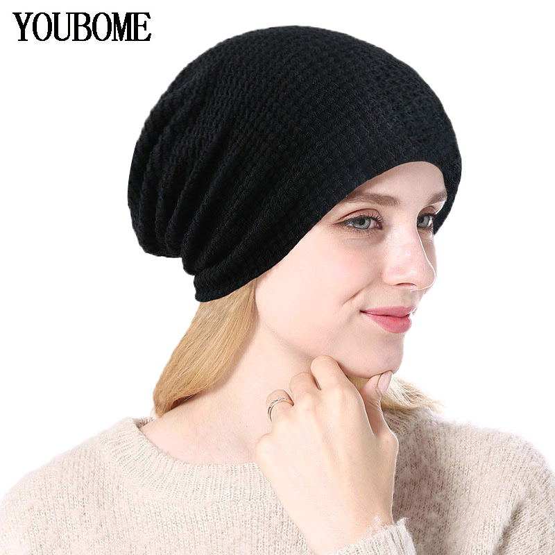 YOUBOME Knitted Hat Women Winter   Skullies     Beanies   Female Winter Hats For Women Lady Baggy Warm Fashion Black Girls Cap Hats 2019