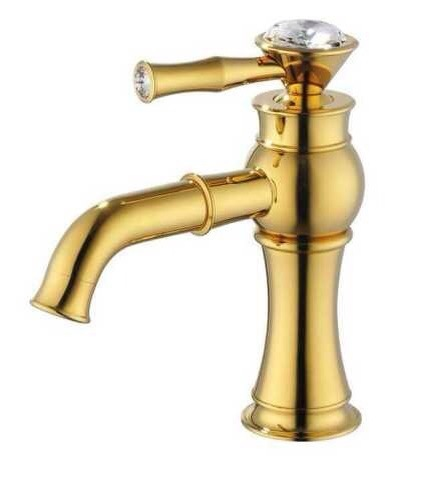 EMS(DHL) Free shipping Ti-PVD Finish Solid Brass Bathroom Sink Faucet crystal tap mixer faucet