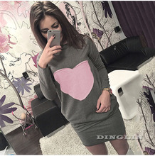 GZDL Hot Sale New Autumn Casual Heart Print Long Sleeve Women Dresses Bodycon Sexy Short Mini Dress Blouse Tops T-shirt CL2429
