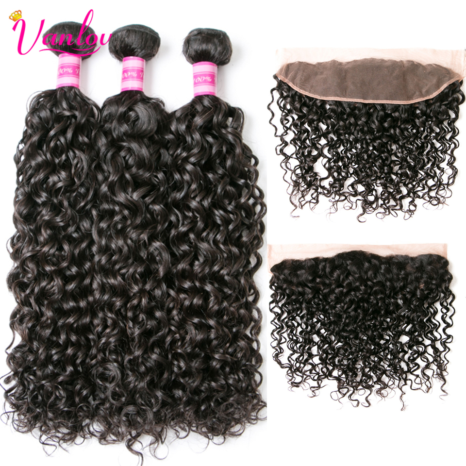 Vanlov Hair Peruvian Hair Bundles With Closure 100% Peruvian Water Wave Human Hair Bundles With Frontal Remy Hair Lace Frontal