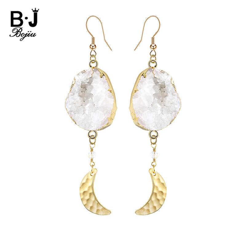 BOJIU ビッグナチュラルホワイト Druzy 石のドロップイヤリングゴールドカラームーン耳飾りロングステートメント用 EA047