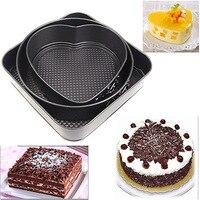 3 Bộ Không dính Springform Pans Bánh Nướng Khuôn Bakeware Round Tim Hình Vuông Phụ Kiện Bếp Nướng Công C