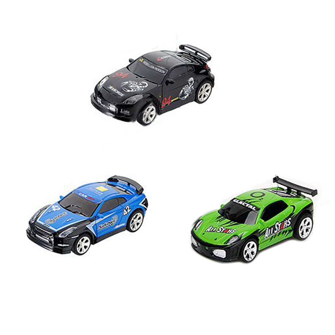 Aaae Top Mini Rc Remote Controlled Auto Racing Car Speelgoed In De Drank Kan 1:58 (zwart/blauw/ Groen) Nieuwe