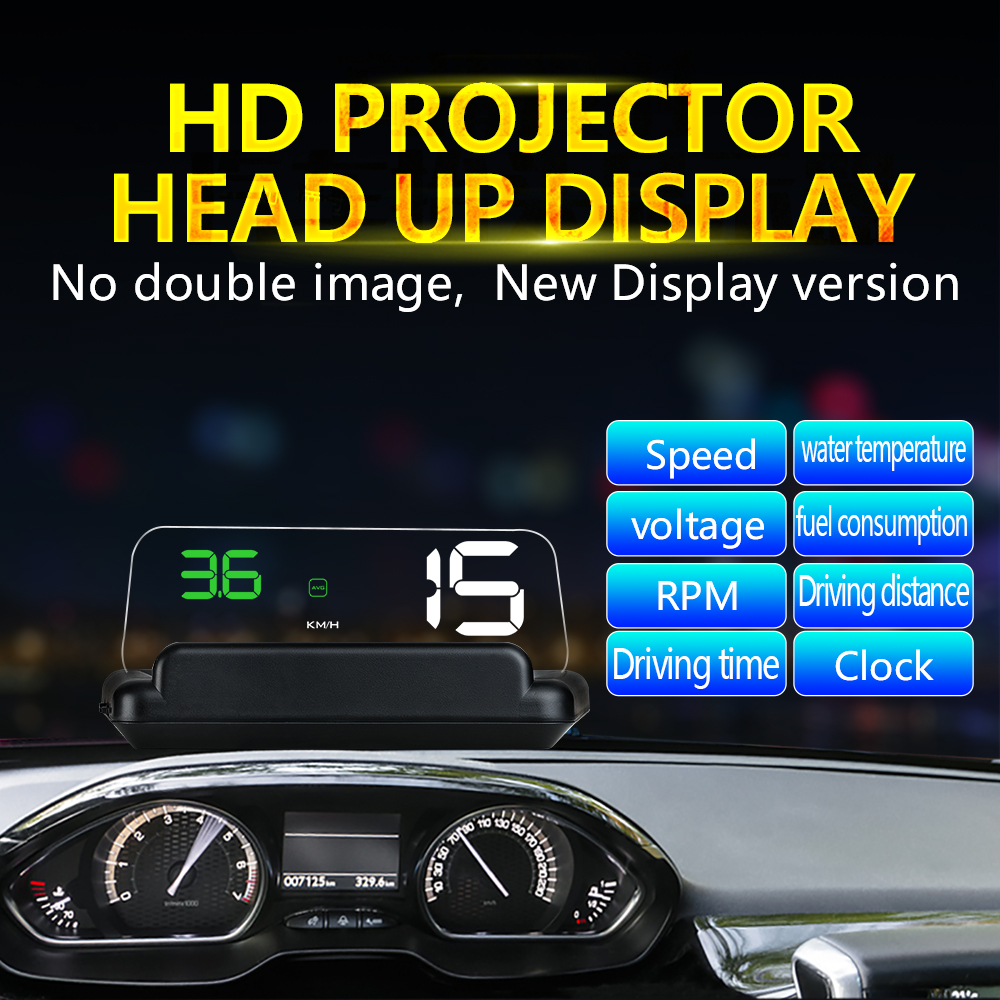 5 Inch Mirror HUD Head Up display Auto HUD OBD2 elm327 Car Speed Projector Speedometer Car Detector KMH KPM speed warning system c500 car hud obd2 mirror hud head up display rpm speedometer projector