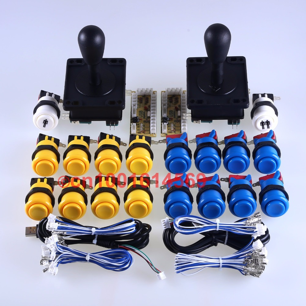 Arcade MAME Game DIY Parts for USB Interface Encoder + 2 x Arcade Gamepads + 18 x Arcade Buttons ( Start Button ) Yellow + Blue мышь x game xm 810ogb neon blue