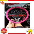 38CM size Cystal Crown Car Steering Wheel Cover For Girls Leather Diamond Steering Covers Cases Black Pink color Car Styling