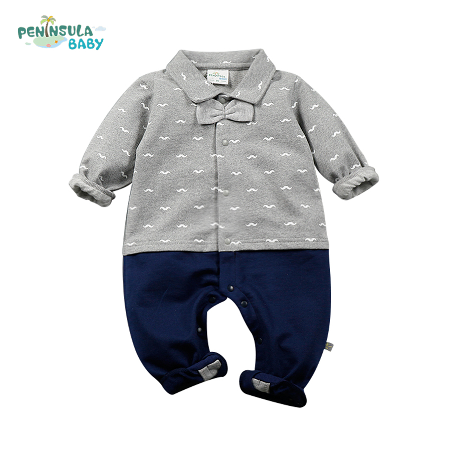 Spring Baby Romper Newborn Boys Girls Clothes Long Sleeve Beard Print With Bow Kids Infant Jumpsuit Little Gentleman Clothing spring autumn newborn baby rompers cartoon infant kids boys girls warm clothing romper jumpsuit cotton long sleeve clothes