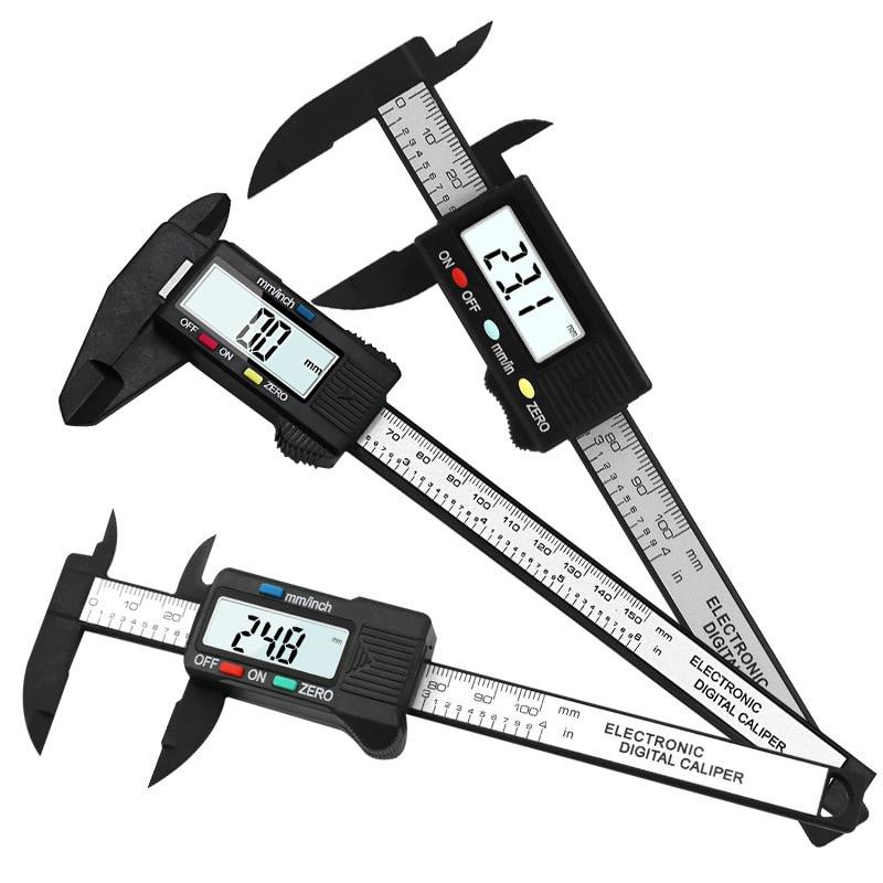 150mm 100mm Vernier Caliper Gauge 6/4 Inch 0.1mm Accuracy LCD Digital Electronic Caliper Carbon Fiber Micrometer Measuring Tools