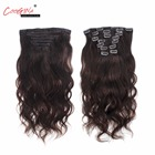 Coogina 2018 New Women Clip In Human Hair Extensions Brazilian Machine Made Remy Body Wave Full Head Clip in Hair Double Drawn