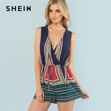 SHEIN Geo Print Wrap Cami Romper 2018 Summer Spaghetti Strap Sleeveless Geometric Short Jumpsuits Woman Vacation Jumpsuits