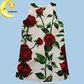 2016 Летние девушки одеваются новый детская одежда дизайнер бренда роуз цветок принцесса партия свадебные детская одежда рождество