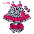 2016 Cotton Swing Sets for Toddlers Baby Girls Clothing Swing Top with Ruffle Bloomers Outfit Cute Newborn Clothes Set X029