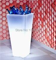 Free Ship H50cm Square LED Illuminated Ice Bucket Furniture Waterproof wireless battery,Led flower Plant Vase LIGHT beer cooler