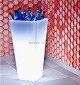 Free ship h50cm quadrado levou mobiliário iluminado balde de gelo à prova d' água sem fio da bateria, diodo emissor de luz da planta da flor vaso de luz refrigerador da cerveja
