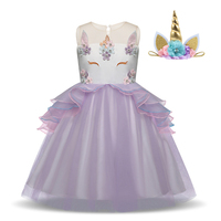 Fancy Kids Unicorn Tulle Dress With Unicorn Headband for Girls Wedding Party Costumes Embroidery Ball Gown Princess Skirt